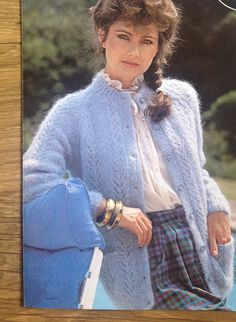 Knitting Pattern Ladies/Women's Mohair Lace Panel Cardigan size 32-40in 81-102cm