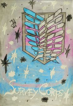 This is another drawing by J.Herret. The emblem represents the Scouting Legion for the Anime series Attack on Titan which she loves and is very special to her; it means a lot to her because it gives her strength and it symbolizes humanity's last hope. The background is space/galaxy themed because it's very mystical, very eye-catching, it gave the artwork more 'pop' and it made it look nicer.
