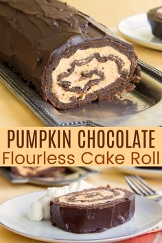 Flourless Chocolate Cake Roll with Pumpkin Mousse is an epic and impressive fall dessert recipe that is actually easy to make and naturally gluten free. Friends and family are going to love this treat at any autumn party or holiday celebration. A delicious alternative to pumpkin pie on Thanksgiving. Get all the tips plus hot to keep a cake roll from cracking on cupcakesandkalechips.com. Chocolate Roll Cake, Gluten Free Chocolate Cake, Chocolate Recipes, Chocolate Ganache, Flourless Chocolate Cakes, Gluten Free Pumpkin, Pumpkin Cheesecake, Keto Cheesecake, Savoury Cake