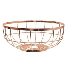 Open Grid Fruit Basket - Copper - Stunningly minimalist, the Open Grid Fruit Basket in Copper from Present Time is the perfect accessory for industrial style abodes. Industrial style is a popular interior trend, with many designers favouring the stripped-back and raw approach to interior d