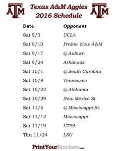 Printable Texas A&M Aggies Football Schedule 2016