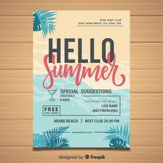 Summer party flyer Free Vector Banner Design, Flyer Design, Web Design, Beach Illustration, Summer Banner, Tropical Background, Flyer Free, Summer Icon, Summer Backgrounds