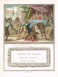 Pépin le Bref - Roi de France - l'An 754 de l'ers vulgaire - aquatinte par Mixelle - MAS Estampes Anciennes - Antique Prints since 1898