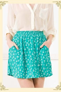 Gone Sailing Skirt @ francesca's collections. can't get sailboats and polka dots out of my head.