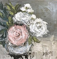 """Pink and White"" by Vicki Denaburg Mixed Media ~ 12 x 12"