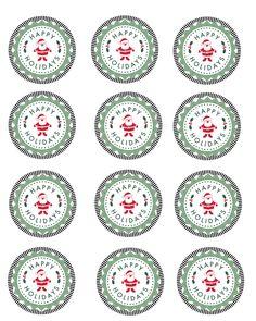 Free Printable Happy Holidays Mason Jar Gift Labels