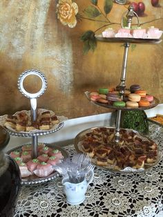 Tea party bridal shower- macaroons, cheesecake bites, petite fors