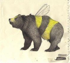Honey Bee Bear -Unknown Artist #Drawing