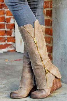 #Wedge #Knee #Knee-High Glamerous Wedge Heels Knee-High Boots with Zipper....I love these boots!
