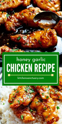Honey Garlic Chicken is an incredible chicken recipe This is a dish that comes together in just 20 minutes for an easy weeknight meal Sweet and savory collide on this glazed chicken honey garlic chicken recipe Asian easy quick dinner best Easy Honey Garlic Chicken, Garlic Chicken Recipes, Honey Glazed Chicken, Honey Sesame Chicken, Recipe For Honey Garlic Sauce, Simple Honey Chicken Recipe, Sweet Chicken Recipe, Glaze For Chicken, Simple Chicken Thigh Recipes