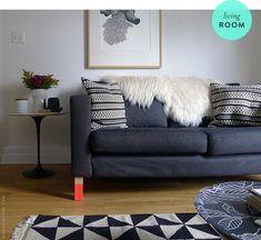 Rug- not pushed up against sofa. Brooklyn living room; doorsixteen.com