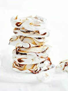 Swirled with caramel and sprinkled with sea salt these dreamy meringues by Donna Hay... yum!