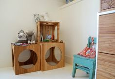 Wooden nesting tables from Kalon