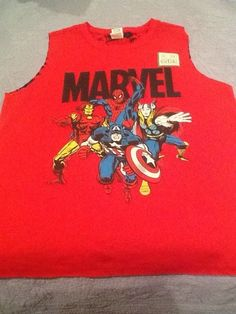 Marvel Women's, Girls size L 11/13Avengers Gym Shirt poly/cotton reversible NWT  #Marvel #EmbellishedTee