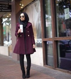 burgandy-coat-winter-hijab-style-Winter hijab fashion outfits http://www.justtrendygirls.com/winter-hijab-fashion-outfits/
