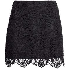 H&M Lace skirt ($30) ❤ liked on Polyvore featuring skirts, bottoms, black, saias, lacy skirt, lace skirt, h&m, black lace skirt and black skirt