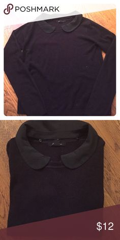 🏁 Forever 21 sweater NEW LISTING Cute black crew neck removable Peter Pan collar Forever 21 Sweaters Crew & Scoop Necks