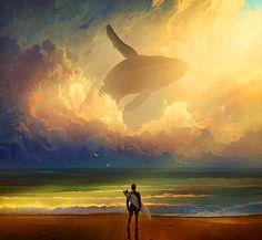 A baleia celeste percorre os céus de Gaia para avisar que há uma grande bênção por vir. Era sai de dentro do oceano e desaparece pelos céus.