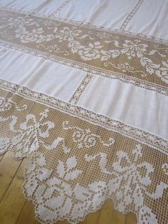 Pair OF Antique Edwardian Filet Lace Curtain Panels 60 X 89 '' 152 X 228 CM | eBay