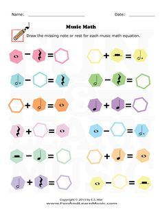 Music and Math - SproutBeat Music Theory Games, Music Theory Worksheets, Math Worksheets, Music Math, Music Classroom, Music Lessons For Kids, Music For Kids, Art Lessons, Piano Teaching