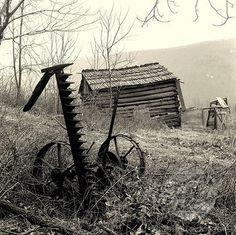 Old fodder cutter in a farm, Appalachian Mountains, Virginia, USA