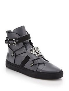 Versace Palazzo Leather High-Top Sneakers