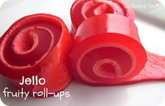 Jello Fruity Roll-ups: So fun to make, kids will LOVE them. Use any flavor of jello you like, marshmallows & water. that's it!