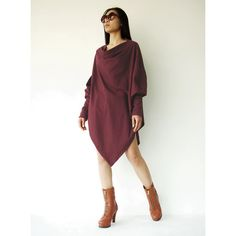 No.59 Deep Red Cotton Jersey Batwing Tunic Loose Asymmetrical Sweater... ($44) ❤ liked on Polyvore featuring tops, tunics, black, grey, pullovers, sweaters, women's clothing, batwing tunic, red tunic and gray tunic