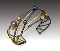 Monarch+Cuff by Judith+Neugebauer: Gold,+Silver+&+Pearl+Bracelet available at www.artfulhome.com