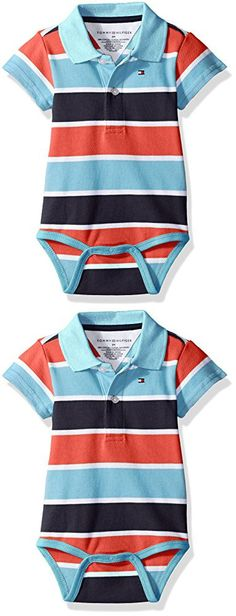 Tommy Hilfiger Baby Boys' Short Sleeve Striped Shaun Bodysuit, Swim Navy, 9 Months