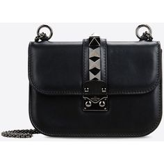 Valentino Garavani Noir Small Chain Cross Body Bag (€1.565) ❤ liked on Polyvore featuring bags, handbags, shoulder bags, black, studded shoulder bag, chain purse, studded purse, valentino handbags and chain strap handbag