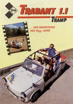 """Als """"Freizeitspaß der neunziger Jahre"""" pries man in Zwickau den Trabant """"1.1 Tramp"""" an - vergeblich. Kaum einer war bereit, den stolzen Preis von 14.820 Mark für das Auto auszugeben."""