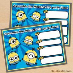 FREE Printable Cute Kawaii Minion Birthday Invitation