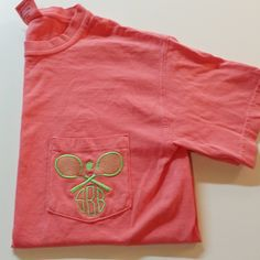 The Initialed Life Monogrammed Tennis Comfort Colors Pocket Tee #sports #preppy