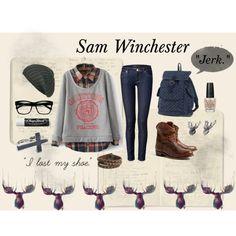 """""""Sam Winchester"""" by bethanyelliott on Polyvore: Large Retro Clear Lens Nerd Hipster Wayfarer Glasses 8789"""