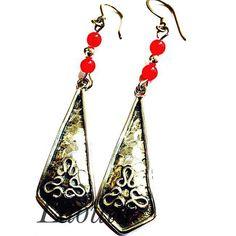 Boucles d'oreilles en argent ethniques, bijoux créateur agate 267635