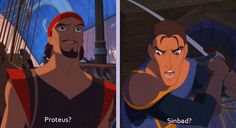 I love how happy Proteus is to see Sinbad even though Sinbad is the one raiding his ship.