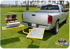 A tailgating table system that attaches to the rear of your car and set up in seconds. Trailer Hitch Accessories, Truck Accessories, Truck Hitch, Truck Tailgate, Tailgate Food, Camping Table, Toy Trucks, Chevy Trucks, Pickup Trucks