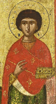 Detailed view: Saints Stephen, Gregory and Panteleimon- exhibited at the Temple Gallery, specialists in Russian icons Religious Icons, Religious Art, Saint Stephen, Russian Icons, Byzantine Art, Art Icon, Orthodox Icons, Sacred Art, People Art