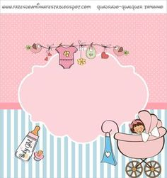 Baby Shower or Baby Shower Girl - Complete Kit with invitation frames, candy labels, party favors and pictures! Invitacion Baby Shower Originales, Imprimibles Baby Shower, Baby Shower Invitaciones, Baby Shower Labels, Baby Shower Printables, Free Printables, The Babys, Album Baby, Moldes Para Baby Shower