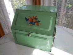 Antique Green Enamel Pie Safe /Tin Bread Box