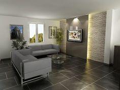 décoration salon mur en pierre