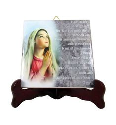 Hail Mary - Ave Maria - devotional icon on ceramic tile handmade in Italy by @TerryTiles2014 >>> https://www.etsy.com/listing/253103883 <<< A very special gift idea for your loved ones.  #avemaria #hailmary #virginmary #faith #devotion #religiousgifts #christianity #ourlady #etsyfinds