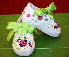 Girl's Custom Painted Tennis Shoes Hot PINK and LIME by paintmama, $55.00