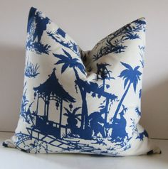 Chinoiserie Pillow Cover  You choose size  19 to by studiotullia, $48.00. Robert Allen fabric:Williamburg, Canton Bazaar
