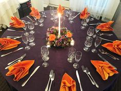 Hidden Creek Country Club - Eggplant (Purple) Crush Linen with Orange Satin Napkins - Floral Centerpiece from The Flower Box