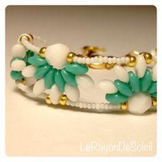 Man woman unisex bracelet SuperDuo emerald by LeRayonDeSoleil, €23.00