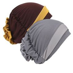 2 Pack Womens Coffee/Gray Chemo Hat Beanie Turban Headwear for Cancer Patients