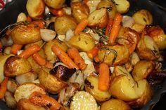 Minna's lille univers: Grillet Bornholmerhane, ovnbagte grøntsager og rødvinssauce