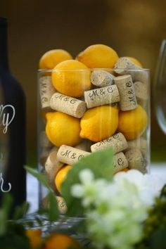 When life gives you lemons you make a chic table centerpiece with Corkey Creation's wine cork place card holders! When life gives you lemons you make a chic table centerpiece with Corkey Creation's wine cork place card holders! Wine Cork Centerpiece, Lemon Centerpieces, Lemon Centerpiece Wedding, Wedding Venue Inspiration, Space Wedding, Personalized Wine, Wedding Supplies, A Table, Book Table